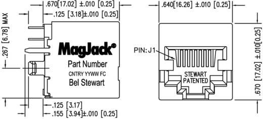 MagJack 10/100Base-TX vertikal 4 Übertrager Buchse, Einbau vertikal 10/100Base-TX Pole: 8P8C SI-16004-F Vernickelt, Meta