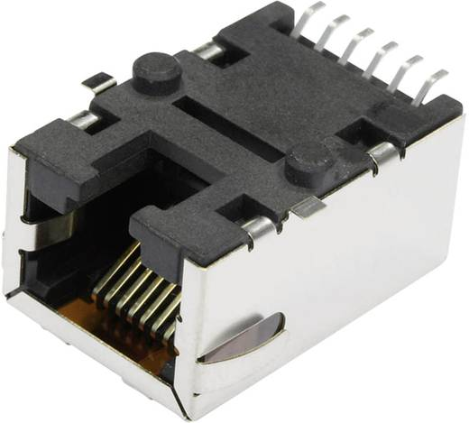MagJack 10/100Base-TX 4 Übertrager Tab down Buchse, Einbau horizontal 10/100Base-TX Pole: 8P8C S811-1X1T-06-F Vernickelt