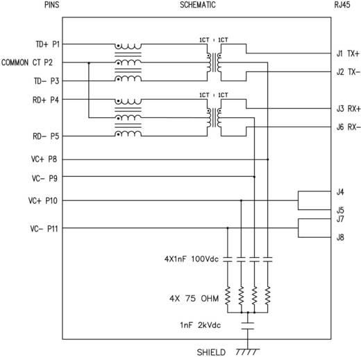 MagJack 10/100Base-TX PoE 4 Übertrager mit LEDs Buchse, Einbau horizontal PoE Pole: 8P8C SI-52008-F Vernickelt, Metall B