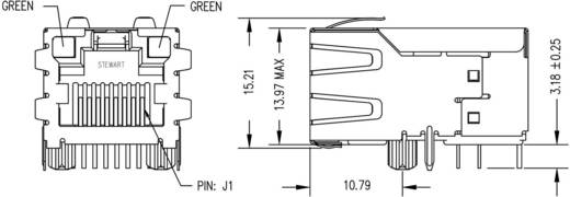 MagJack 10/100Base-TX PoE 5 Übertrager mit LEDs Buchse, Einbau horizontal PoE Pole: 8P8C SI-51005-F Vernickelt, Metall B