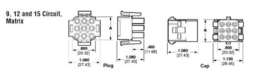 Stiftgehäuse-Kabel Universal-MATE-N-LOK Polzahl Gesamt 15 TE Connectivity 350736-1 1 St.