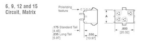 TE Connectivity Buchsengehäuse-Platine Universal-MATE-N-LOK Polzahl Gesamt 6 350827-1 1 St.