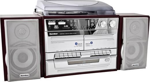 Karcher KA 320 Stereoanlage CD, Kassette, MW, Plattenspieler, SD, USB, UKW, 2 x 2 W Holz, Silber