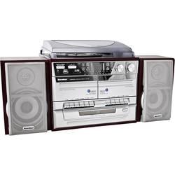 Stereo systém Karcher KA 320, CD, kazeta, MW, gramofón, SD, USB, UKW, drevo, strieborná