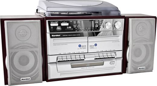 Stereoanlage Karcher 805649 CD, Kassette, MW, Plattenspieler, SD, USB, UKW, 2 x 2 W Holz, Silber