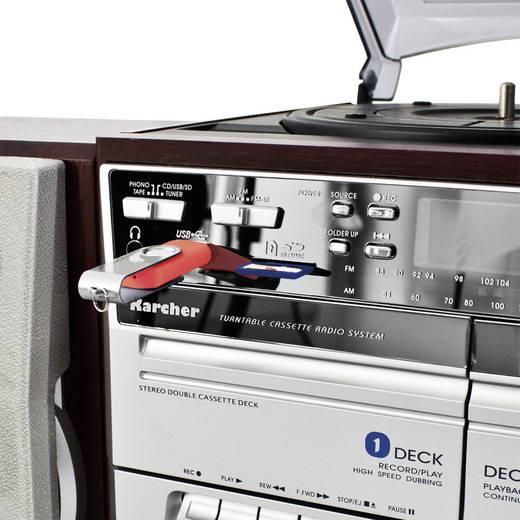 Karcher 805649 Stereoanlage CD, Kassette, MW, Plattenspieler, SD, USB, UKW, 2 x 2 W Holz, Silber
