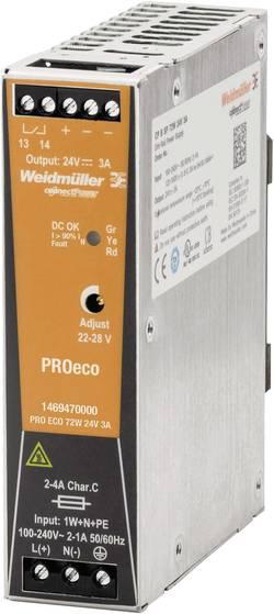 Síťový zdroj na DIN lištu Weidmüller PRO ECO 72W 24V 3A, 1 x, 24 V/DC, 3 A, 72 W