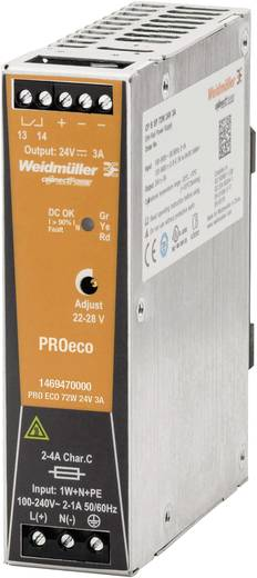Weidmüller PRO ECO 72W 24V 3A Hutschienen-Netzteil (DIN-Rail) 24 V/DC 3 A 72 W 1 x