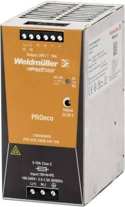 Síťový zdroj na DIN lištu Weidmüller PRO ECO 240W 24V 10A, 1 x, 24 V/DC, 10 A, 240 W