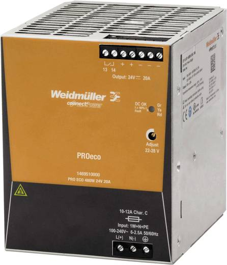 Weidmüller PRO ECO 480W 24V 20A Hutschienen-Netzteil (DIN-Rail) 24 V/DC 20 A 480 W 1 x