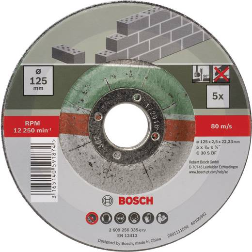 Trennscheibe gekröpft 125 mm 22.23 mm Bosch Accessories C 30 S BF 2609256335 5 St.