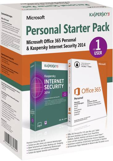 Personal Starter Pack (MS Office 365 1 Jahr + Kaspersky Internet Security 2014) Office-Paket, Antivirus