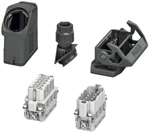 Set mit Tüllengehäuse, Anbaugehäuse, Verschraubung, Stiftkontakteinsatz und Buchsenkontakteinsatz HC-EVO-A10UT-BWS-HH-M2