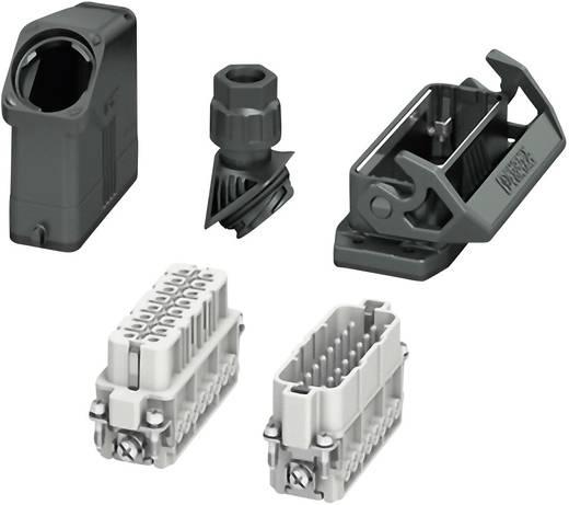 Set mit Tüllengehäuse, Anbaugehäuse, Verschraubung, Stiftkontakteinsatz und Buchsenkontakteinsatz HC-EVO-A16UT-BWS-HH-M2