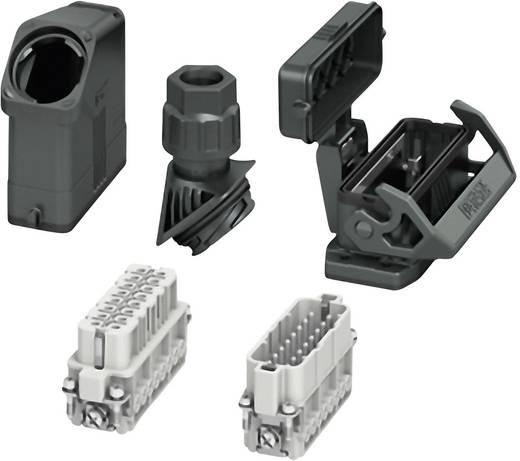 Set mit Tüllengehäuse, Anbaugehäuse, Verschraubung, Stiftkontakteinsatz und Buchsenkontakteinsatz HC-EVO-A16UT-BWSC-HH-M