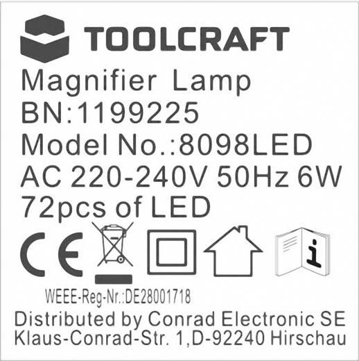 TOOLCRAFT 1199225 Tisch Lupenleuchte 6 W Vergrößerungsfaktor: 1.75 x Lupen-Durchmesser: 120 mm
