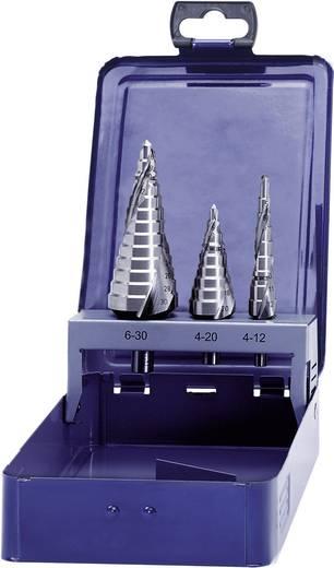 HSS Stufenbohrer-Set 3teilig 4 - 12 mm, 4 - 20 mm, 6 - 30 mm Eventus 17334 Zylinderschaft 1 Set