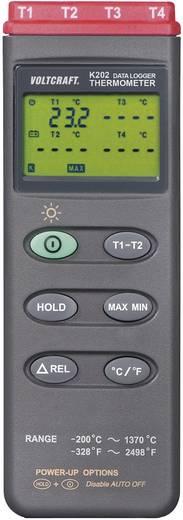 Temperatur-Messgerät VOLTCRAFT K204 -200 bis +1370 °C Fühler-Typ K Kalibriert nach: DAkkS