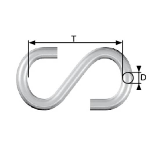 dörner + helmer S-Haken Ø 3 mm N/A 24 mm Stahl galvanisch verzinkt 20 St.