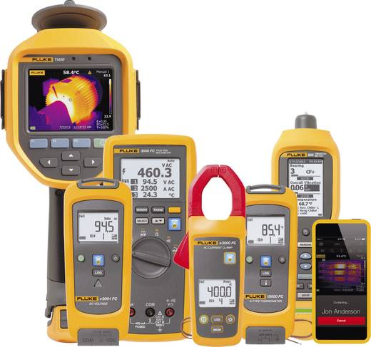 Stromzange, Hand-Multimeter digital Fluke FLK-a3002 FC Kalibriert nach: Werksstandard (ohne Zertifikat) Datenlogger CAT