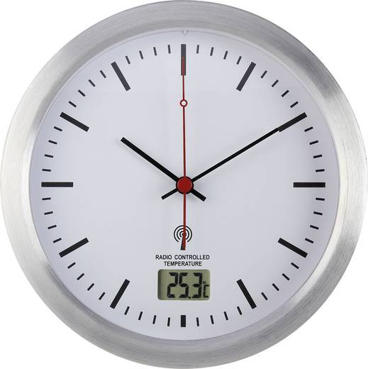 Funk Wanduhr Renkforce E1003R 17 cm x 6 cm Silber Badezimmer-/Feuchtraum geeignet