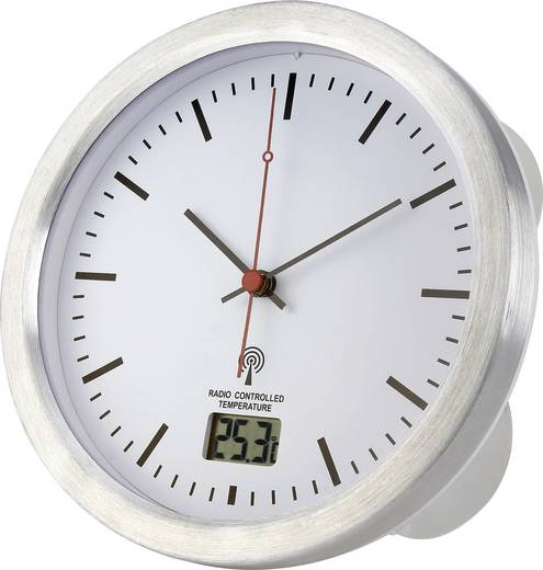Renkforce E1003R Funk Wanduhr 17 cm x 6 cm Silber Badezimmer-/Feuchtraum geeignet