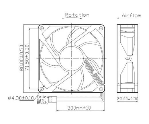 Axiallüfter 12 V/DC 70.68 m³/h (L x B x H) 80 x 80 x 25 mm FD128025HB-N(2F7)