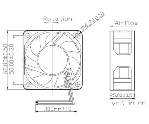 Axiallüfter 12 V/DC 35.82 m³/h (L x B x H) 60 x 60 x 25 mm FD126025MB-N(2A5)