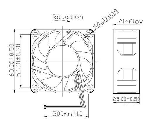 Axiallüfter 12 V/DC 42.66 m³/h (L x B x H) 60 x 60 x 25 mm FD126025HB-N(2A7)