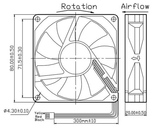 Axiallüfter 12 V/DC 42.48 m³/h (L x B x H) 80 x 80 x 20 mm FD128020LB(2F3)