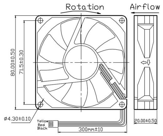 FD128020LB(2F3) Axiallüfter 12 V/DC 42.48 m³/h (L x B x H) 80 x 80 x 20 mm