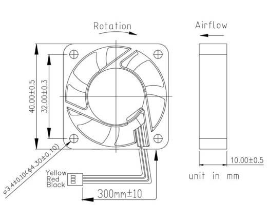 FD124010MS(1A5K) Axiallüfter 12 V/DC 9 m³/h (L x B x H) 40 x 40 x 10 mm