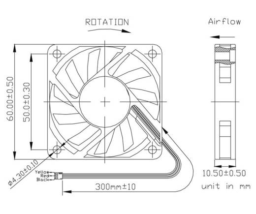 Axiallüfter 12 V/DC 35.7 m³/h (L x B x H) 60 x 60 x 10 mm FD126010MS(1F5)
