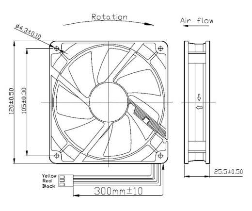 KM121225LS(1A1) Axiallüfter 12 V/DC 65.22 m³/h (L x B x H) 120 x 120 x 25 mm
