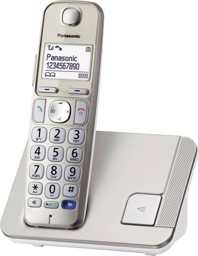 Panasonic KX-TGE210 Schnurloses Seniorentelefon Freisprechen Beleuchtetes Display Champagner
