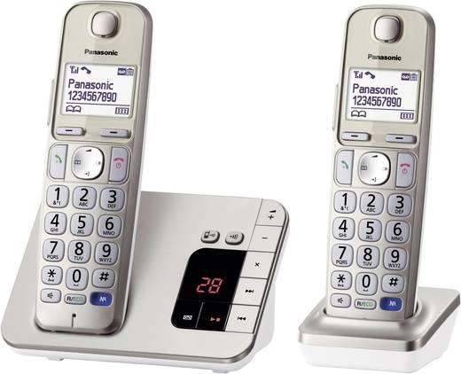 Panasonic KX-TGE222 Duo Schnurloses Seniorentelefon Anrufbeantworter, Freisprechen Beleuchtetes Display Champagner