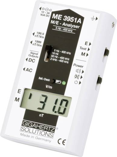 Gigahertz Solutions ME 3951 A Niederfrequenz (NF)-Analysegerät, Elektrosmog-Messgerät, 5 Hz - 400 kHz/- 2 dB (gemäß TCO-