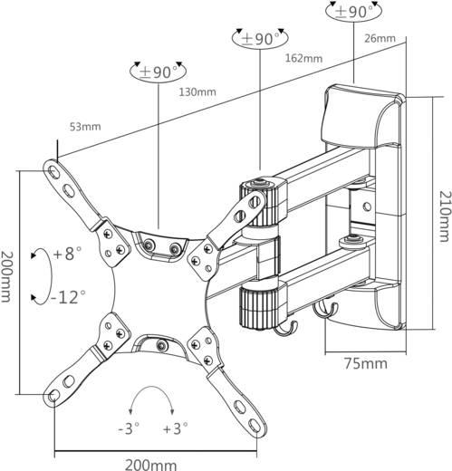 """TV-Wandhalterung 25,4 cm (10"""") - 81,3 cm (32"""") Neigbar+Schwenkbar NewStar Products NM-W225BLACK"""