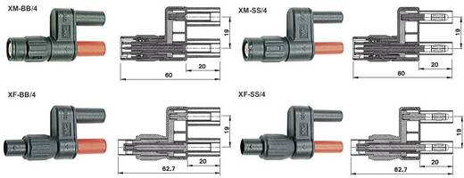 Messadapter [ BNC-Buchse - Buchse 4 mm] berührungssicher Stäubli XF-BB/4 Schwarz/Rot