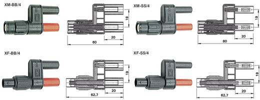 Messadapter BNC-Stecker - Lamellenstecker 4 mm berührungssicher Stäubli XM-SS/4 Schwarz/Rot