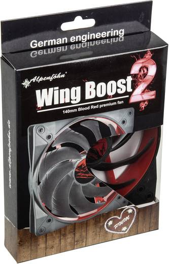 EKL Alpenföhn Wing Boost 2 PC-Gehäuse-Lüfter Rot (B x H x T) 140 x 140 x 25 mm