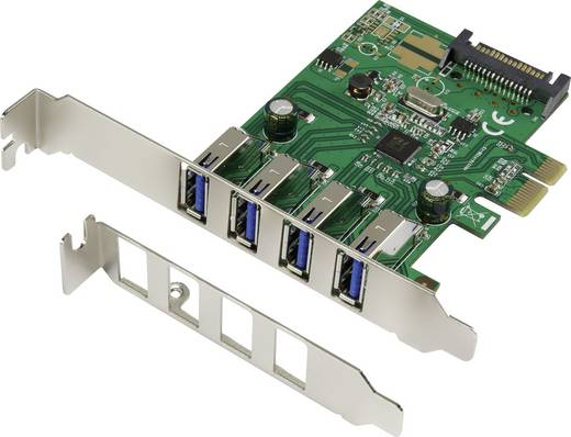 4 Port USB 3.0-Controllerkarte USB-A PCIe Renkforce