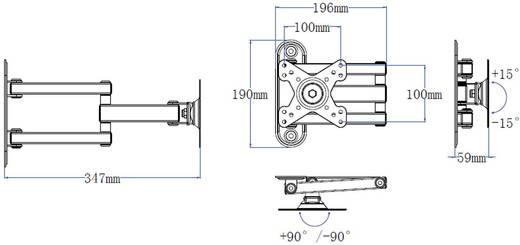 """SpeaKa Professional Monitor-Halterung mit 3 Armen 25,4 cm (10"""") - 81,3 cm (32"""") Schwarz"""