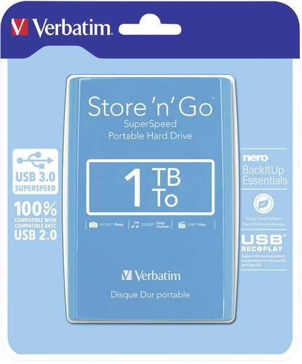 Externe Festplatte 6.35 cm (2.5 Zoll) 1 TB Verbatim Store´n´Go Blau USB 3.0