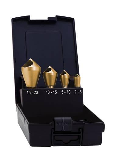 Querlochsenker-Set 4teilig 5 mm, 10 mm, 15 mm, 20 mm HSS TiN Exact 05440 Zylinderschaft 1 Set