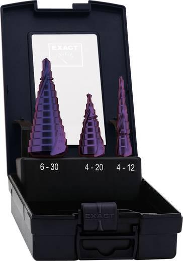HSS Stufenbohrer-Set 4 - 12 mm, 4 - 20 mm, 6 - 30 mm TiN, TiALN Exact 09014 3-Flächenschaft 1 St.