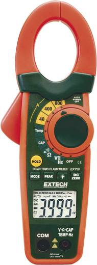 Stromzange, Hand-Multimeter digital Extech EX730 Kalibriert nach: DAkkS CAT III 600 V Anzeige (Counts): 4000