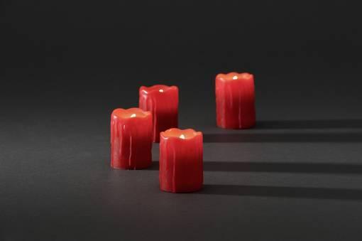 LED-Echtwachskerze rot