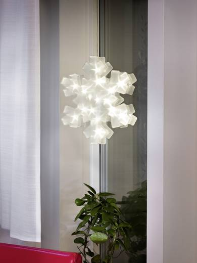 LED-Fensterbild Schneeflocke Warm-Weiß LED Konstsmide 2785-103 Transparent