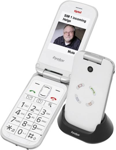 TipTel Ergophone 6121 Dual-SIM-Handy Weiß
